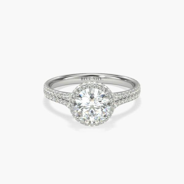 1 Carat Ready-to-Ship Blue Nile Studio Cambridge Halo Diamond Engagement Ring in Platinum