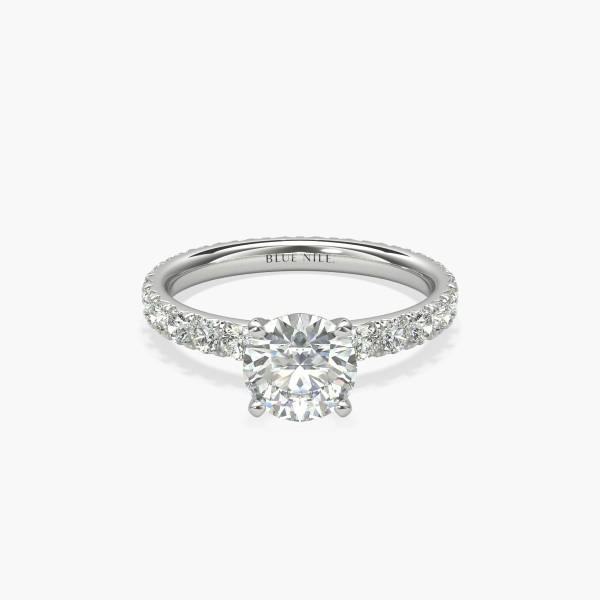 1 克拉鉑金 Blue Nile Studio 法式密釘永恆鑽石訂婚戒指,現貨供應
