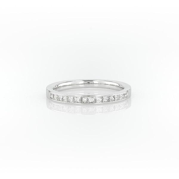 14k 白金迫鑲公主方形鑽石戒指(1/3 克拉總重量)