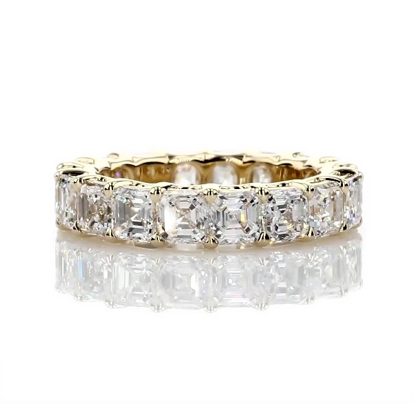 Regal Asscher-Cut Diamond Eternity Ring in 18k Yellow Gold - G/VS2 (5 1/2 ct. tw.)
