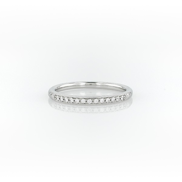 Petite bague diamant millegrain en platine