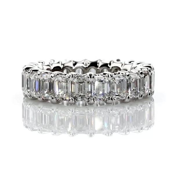 鉑金華麗綠寶石形切割鑽石永恆戒指 - G/VS2 (5 克拉總重量)