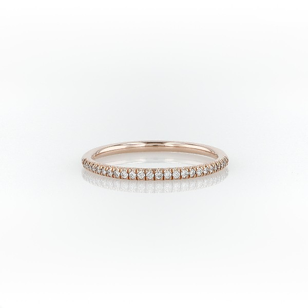 Petite Micropavé Diamond Ring in 14k Rose Gold