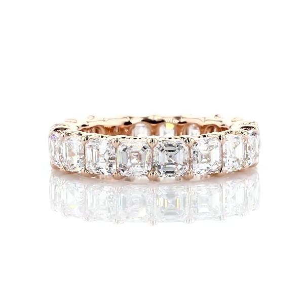 18k 玫瑰金华贵阿斯彻形钻石永恒戒指 - G/VS2 (5 1/2 克拉总重量)