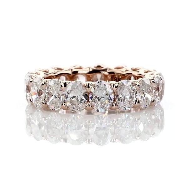 Bague d'éternité royale avec diamants taille ovale en or rose 18carats - G/SI1 (5carats, poids total)