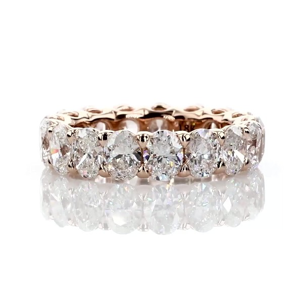 18k 玫瑰金华贵椭圆形切割钻石永恒戒指 - G/SI1 (5 克拉总重量)