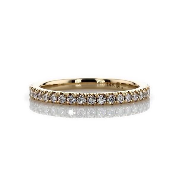 Bague d'éternité diamants sertis pavé français en or jaune 14carats (1/2carat, poids total)