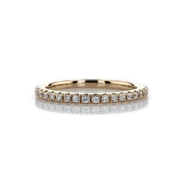 14k 金四分之三密钉钻石结婚戒指(1/4 克拉总重量)