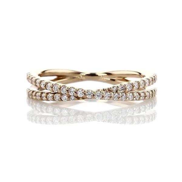 14k 黃金現代風十字交叉形鑽石戒指(1/4 克拉總重量)