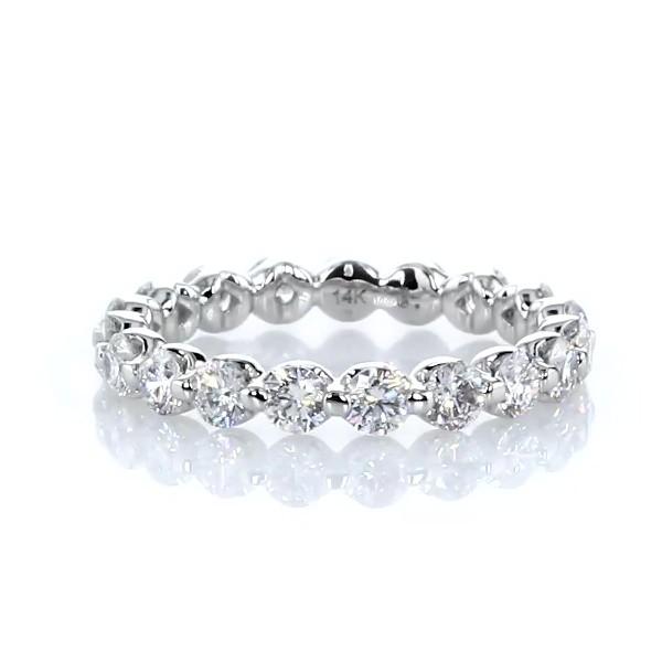14k 白金懸浮鑽石永恆戒指(1 1/2 克拉總重量)