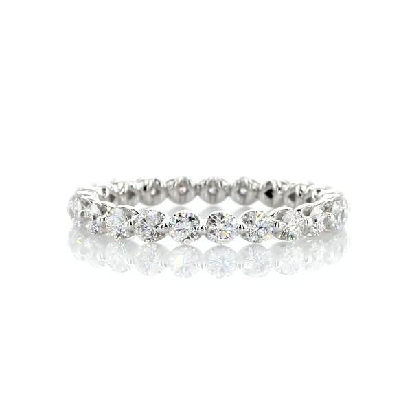 Anneau d'éternité diamant flottant en or blanc 14carats (1carat, poids total)