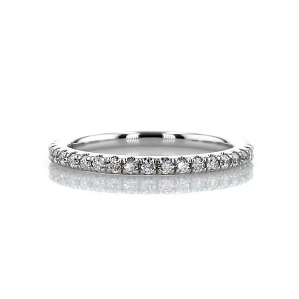 Three Quarter Pavé Diamond Wedding Ring in 14k White Gold (1/4 ct. tw.)