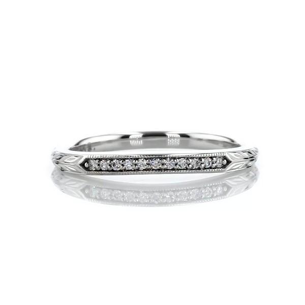 ビンテージ風手彫りのダイヤモンドウェディングリング (K14ホワイトゴールド)