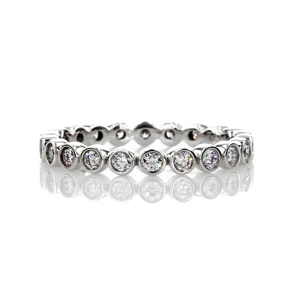 Bezel-Set Diamond Eternity Ring in 18k White Gold (1/2 ct. tw.)