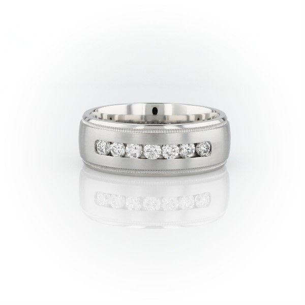 Monique Lhuillier Milgrain Diamond Inlay Wedding Band in Platinum (7mm)