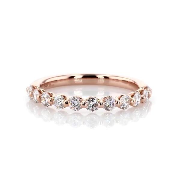 14k 玫瑰金浮动钻石结婚戒指(1/2 克拉总重量)
