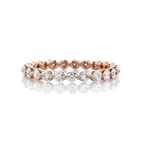 14k 玫瑰金浮动钻石永恒戒指(1 克拉总重量)