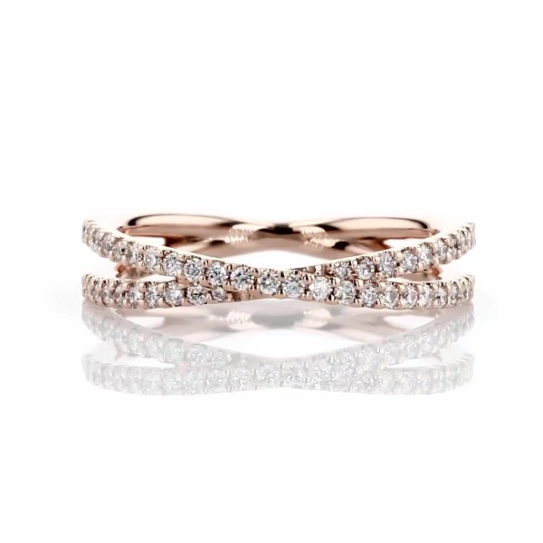 Contemporary Criss-Cross Diamond Ring in 14k Rose Gold (1/4 ct. tw.)