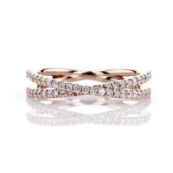 14k 玫瑰金现代风交叉钻石戒指(1/4 克拉总重量)
