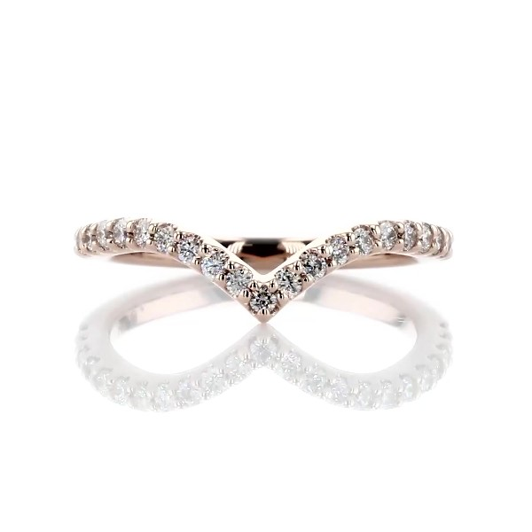Contemporary V-Shaped Diamond Wedding Ring in 14k Rose Gold (1/3 ct. tw.)