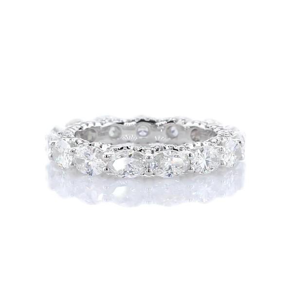14k 白金横向椭圆形钻石密钉剖面永恒戒指(3 1/2 克拉总重量)