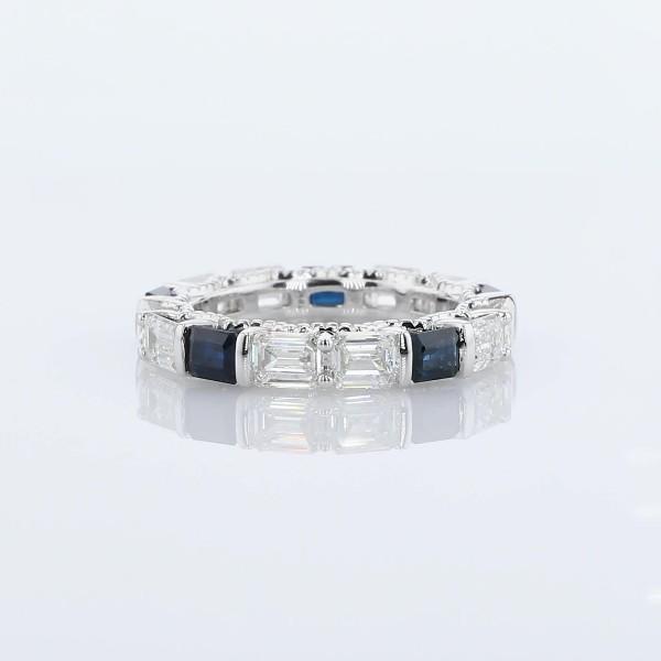 14k 白金橫向綠寶石形切割鑽石與藍寶石相間排列戒指(2 1/2 克拉總重量)