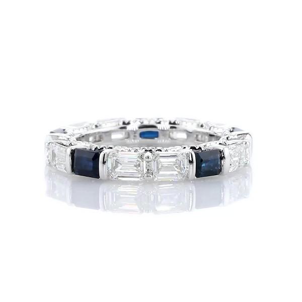 14k 白金祖母绿切割钻石与蓝宝石横向相间镶嵌永恒戒指(2 1/2 克拉总重量)