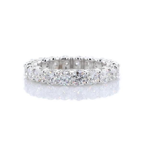 14k 白金奢華鑽石永恆戒指搭密釘側邊戒環(3 3/4 克拉總重量)