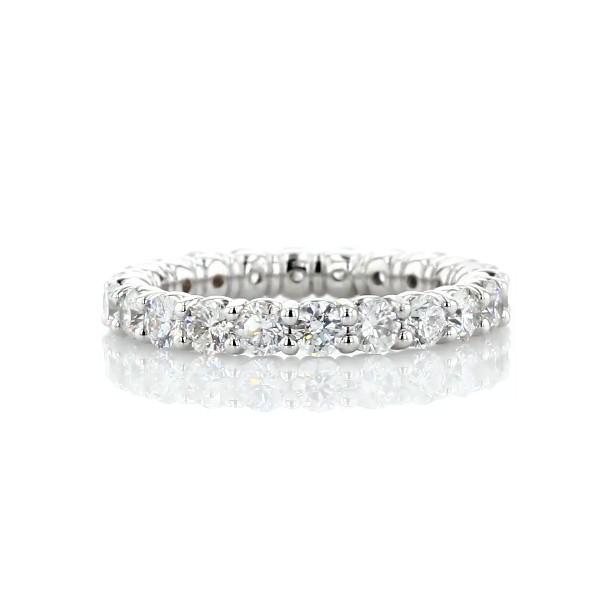 14k 白金内圈圆弧设计圆形璀璨钻石永恒戒指(2 克拉总重量)