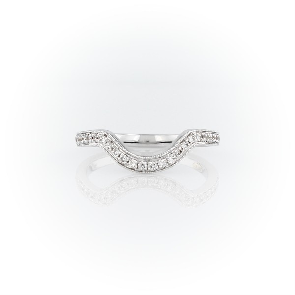 ZAC Zac Posen Curved Milgrain Diamond Ring in 14k White Gold (1/5 ct. tw.)