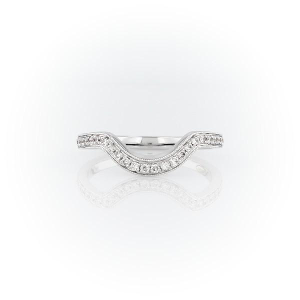 Anillo de diamantes curvo con diseño milgrain ZAC de Zac Posen en oro blanco de 14 k (1/5 qt. total)