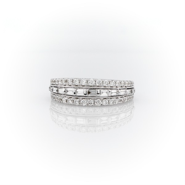 ZAC Zac Posen Trio Baguette and Milgrain Diamond Ring in 14k White Gold (3/5 ct. tw.)