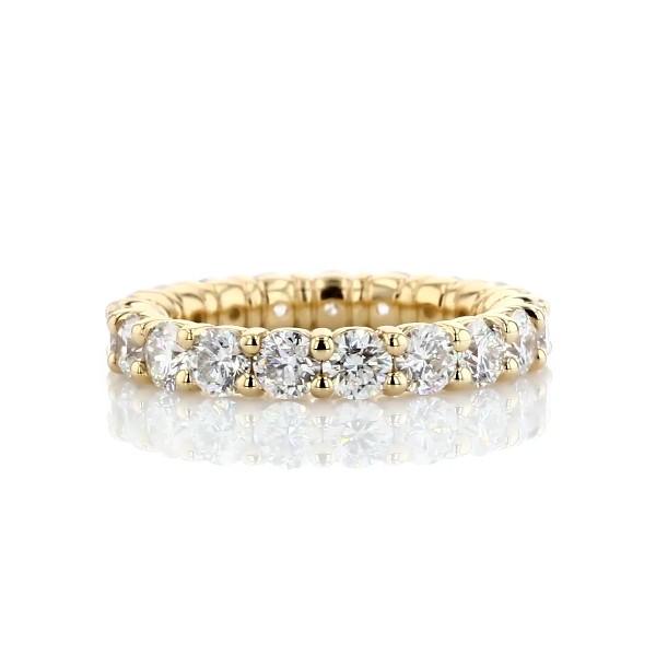 Bague d'éternité confort diamant rond brillant en or jaune 18carats (3carats, poids total)