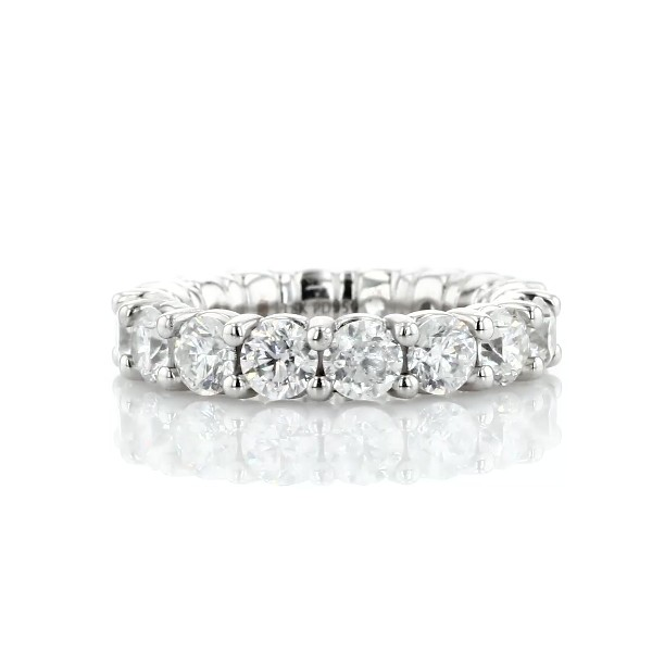 Comfort Fit Round Brilliant Diamond Eternity Ring in 18k White Gold (5 ct. tw.)