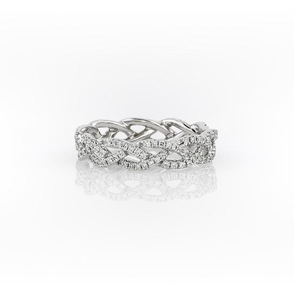 鉑金 Monique Lhuillier 鑽石繩狀永恆戒指(1/2 克拉總重量)