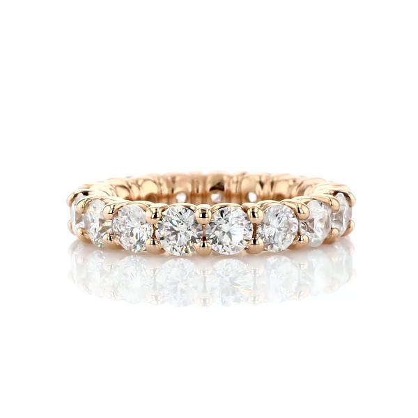 Comfort Fit Round Brilliant Diamond Eternity Ring in 18k Rose Gold (4 ct. tw.)