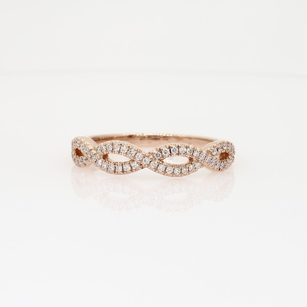 Infinity Twist Micropavé Diamond Wedding Ring in 14k Rose Gold 1