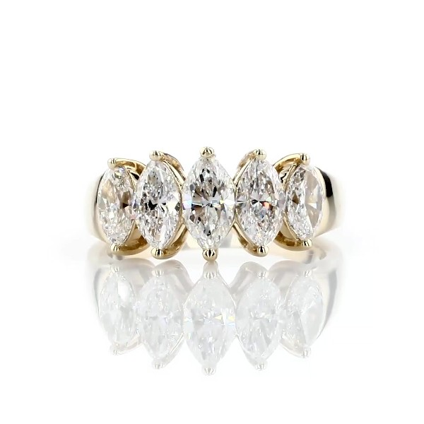 Five Stone Graduated Marquise Diamond Anniversary Ring in 14k Yellow Gold -H/SI1 (1.77 ct. tw.)