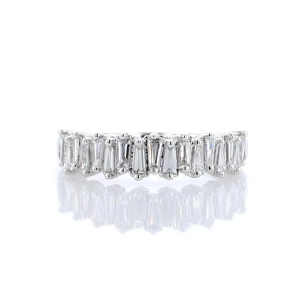 14k 白金混合异形钻石相间结婚戒指(3/4 克拉总重量)