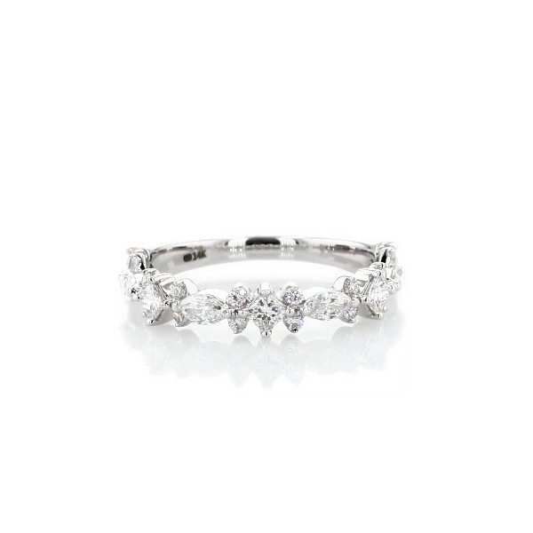 Alternating Mixed Fancy Diamond Wedding Ring in 14k White Gold (3/4 ct. tw.)