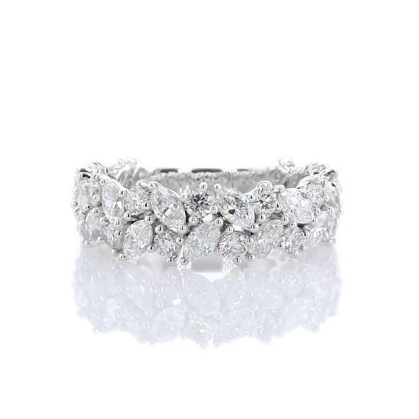 14k 白金马眼形和圆形钻石群簇结婚戒指(2 克拉总重量)
