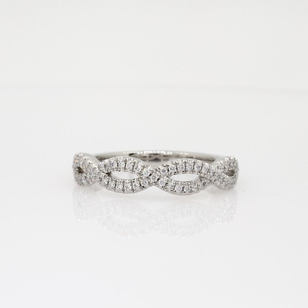 Infinity Twist Micropavé Diamond Wedding Ring in Platinum