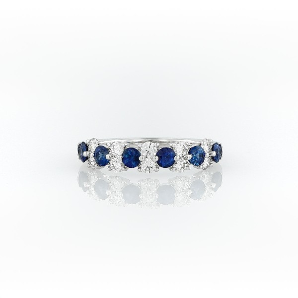 Sapphire and Diamond Garland Ring in 18k White Gold (1/2 ct. tw.)