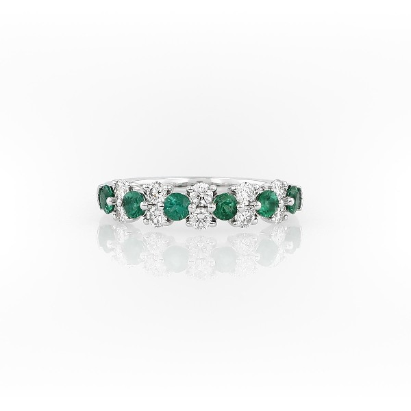 Emerald and Diamond Garland Ring in 18k White Gold (1/2 ct. tw.)