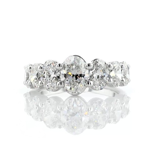 Seven Stone Graduated Oval Diamond Anniversary Ring in 14k White Gold - H/SI1 (3 ct. tw.)