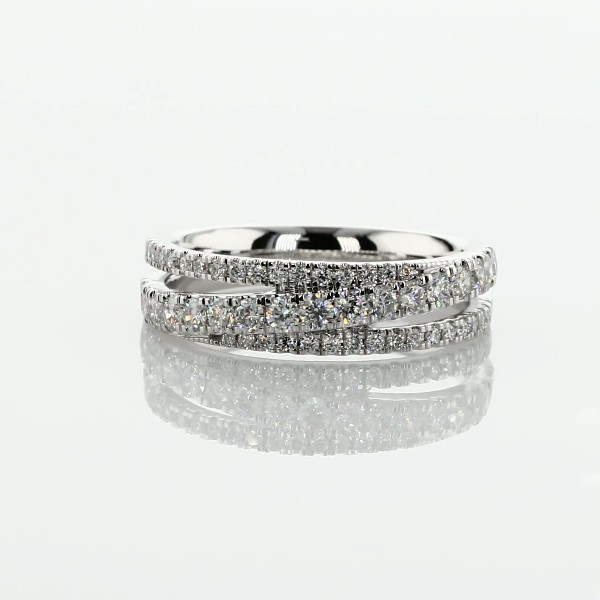 Diamond Crossover Ring in 14k White Gold- H/SI2 (1/2 ct. tw.)