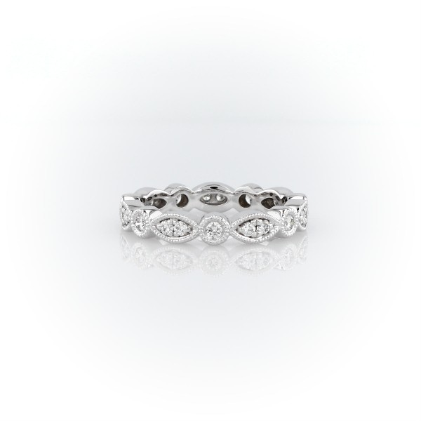 Milgrain Marquise and Dot Diamond Eternity Ring in 14k White Gold (1/3 ct. tw.)