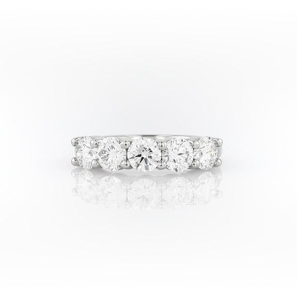 Blue Nile Signature Comfort Fit Five Stone Diamond Ring in Platinum