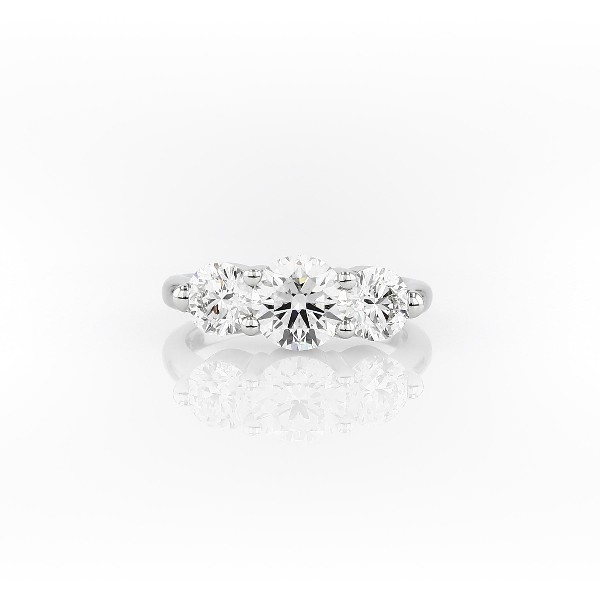 Blue Nile Signature Comfort Fit Three-Stone Diamond Ring in Platinum