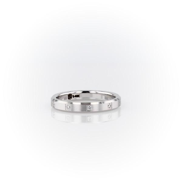Anillo de bodas de eternidad con diamantes y borde de bisel en oro blanco de 14 k (3mm)
